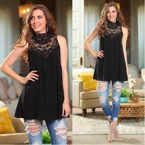 Black lace detail sleeveless tunic